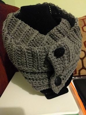 Gray Andy Button Scarf